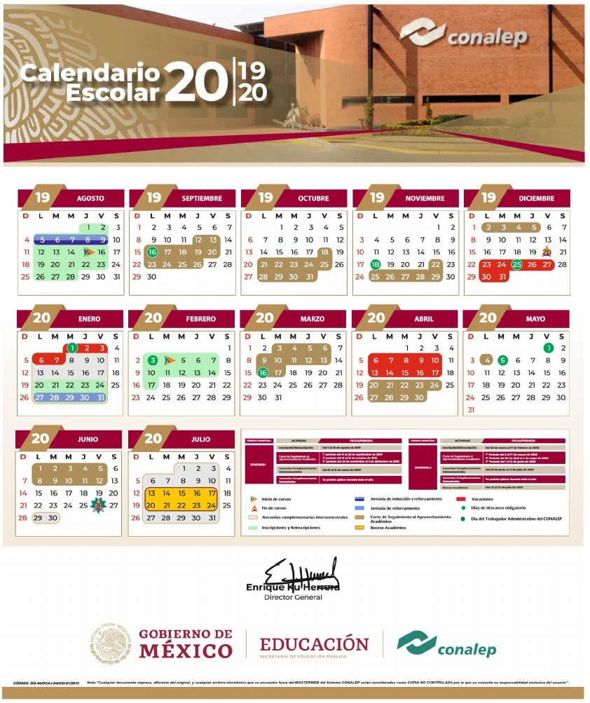 conalep calendario 2020