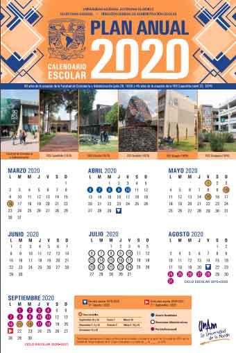 Calendario escolar unam 2020